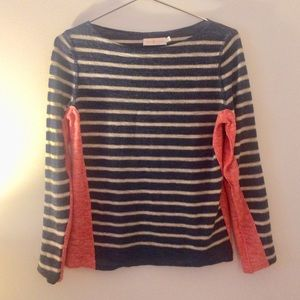 TORY BURCH Boat Neck Long Sleeve Striped Linen Top